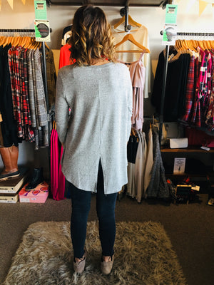 Heather Grey L/S Hi-Low Top With Cut Out Detail Center Back - ALL SALES FINAL