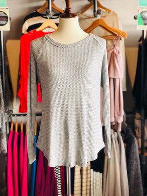 Heather Grey Round Neck Back Keyhole detail, L/S Waffle knit-ALL SALES FINAL