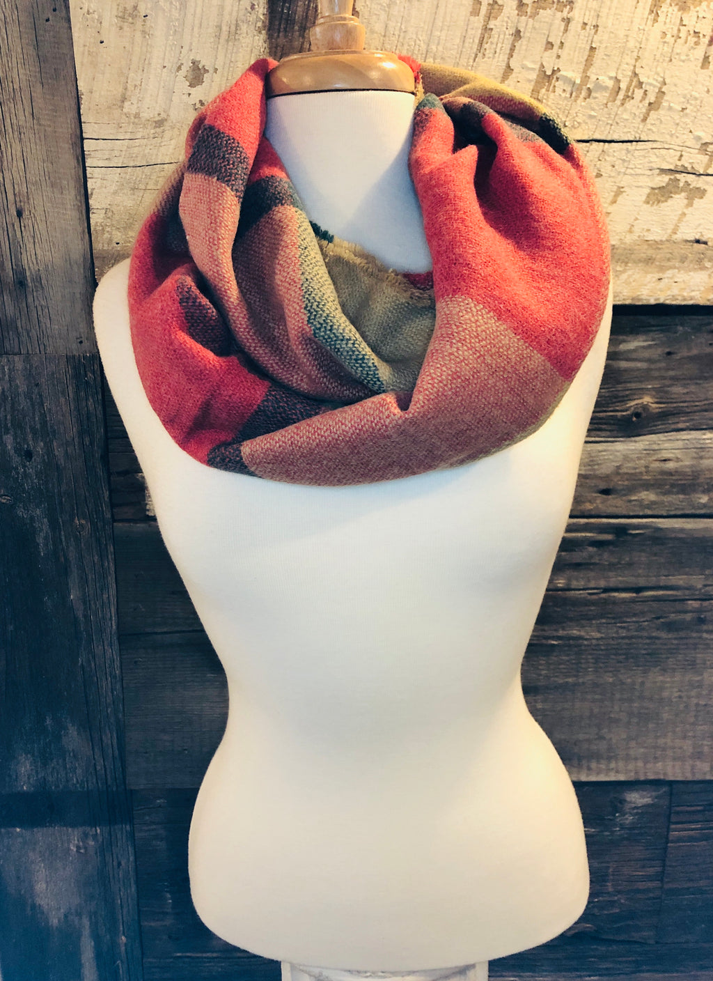 Coral Multi Color Plaid Infinity Scarf