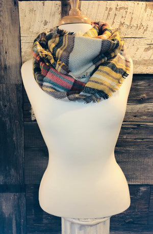 Grey Checker Plaid Infinity Scarf