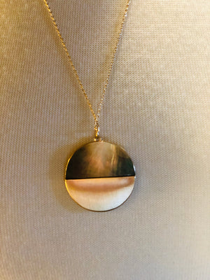 Gray/Gold Double Layered Circle Necklace with Earrings