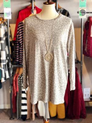 Animal Print Dolman Sleeve Tunic Top