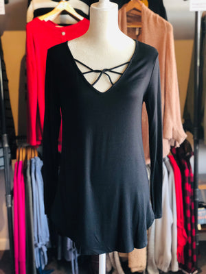 Black Cage Neck Top
