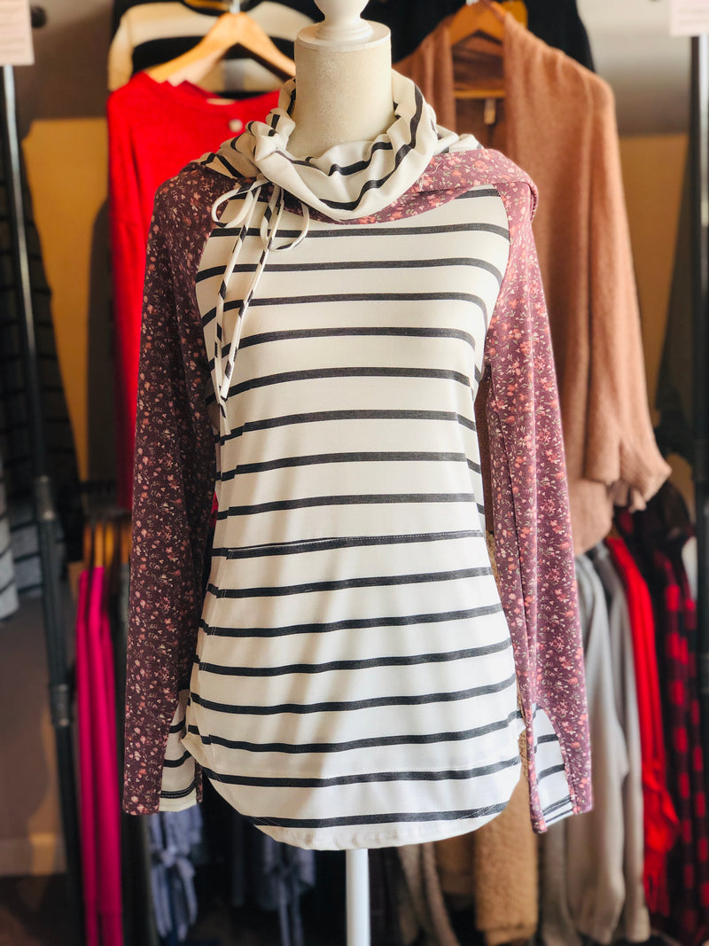 L/S Cowl Neck Hoodie with floral print sleeves and stripped body