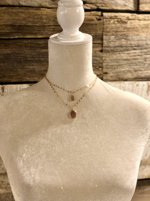 Layered Stone Drop Necklace - 2 Colors