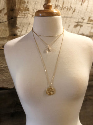 Layered Metal Braid Disc Necklace