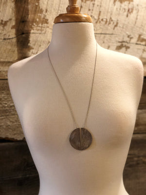 Center Cut Circle Pendant Necklace-ALL SALES FINAL