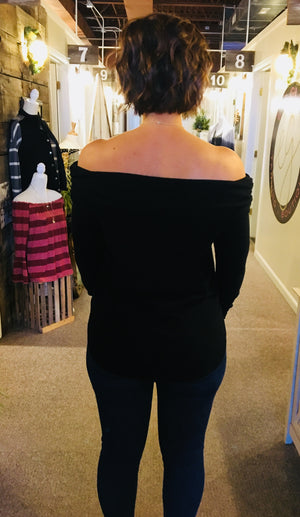 Black Off the Shoulder Knit Top -ALL SALES FINAL