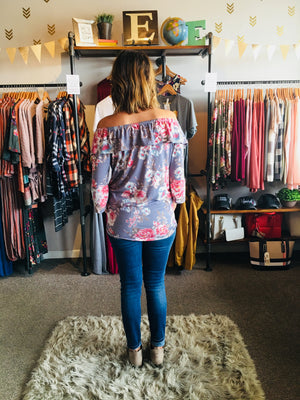 Floral Printed Wide Shoulder L/S Top - ALL SALES FINAL