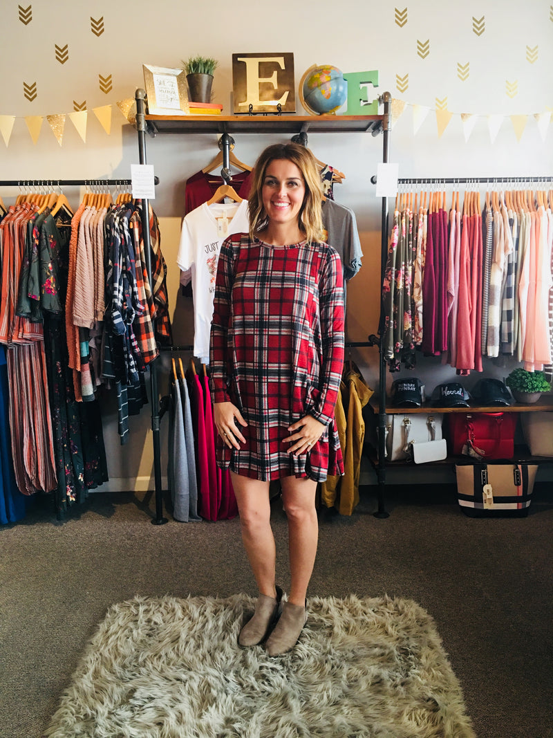 Plaid Swing Dress with Pockets - ALL SALES FINAL