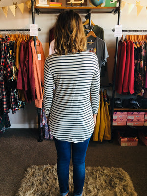 Round Neck Black/ White Striped Top- ALL SALES FINAL