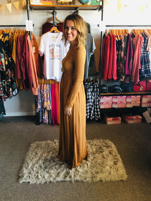 Long Sleeve Round Neck Maxi Dress - ALL SALES FINAL