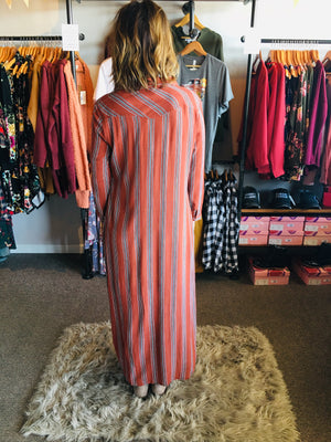 Rust Stripe Maxi Shirt Dress - ALL SALES FINAL