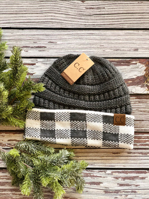 C.C Buffalo Check Knit Hat - Various Colors-ALL SALES FINAL
