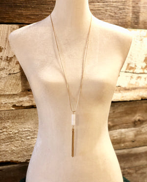 Smooth Cylinder Faux Stone Pendant Fringe Necklace