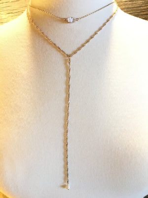 Rose Gold Delicate Stone Lariat Choker Necklace