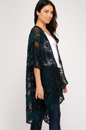 Peacock Open Front Burnout Cover Up