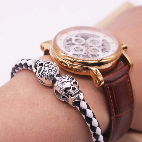 Gold Skull Braided Leather Bracelet - The Urban Fest eStore