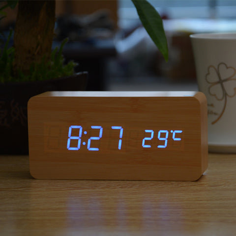 2019 Wooden Alarm Clocks With Thermometer Rectangle Table Clocks Big Numbers Digital Clock Classic Led Clocks Home Decor