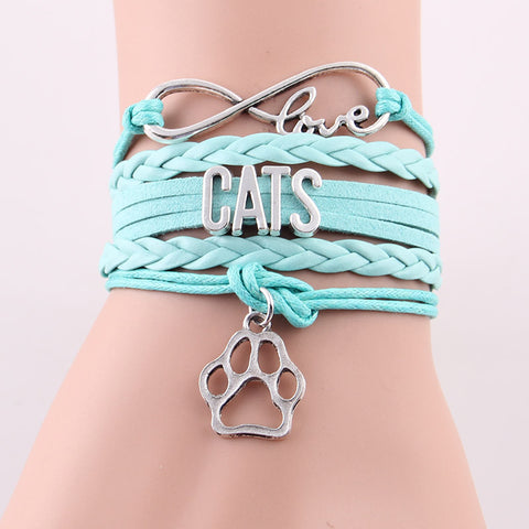 Handmade Infinity Love CATS Unisex Leather Charm Bracelet - The Urban Fest eStore