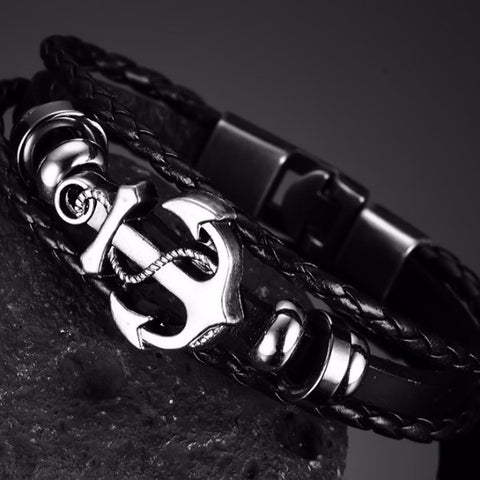 Vintage Anchor Black Leather Charm Bracelet for Men - The Urban Fest eStore