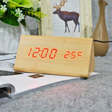 Triangle LED Wooden Digital Alarm Clocks with Thermometer - The Urban Fest eStore
