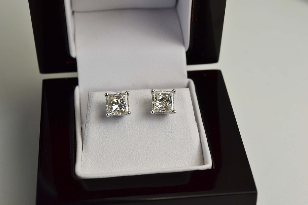 2.32 Carat E VVS Princess Diamond Earrings 100% Natural set in 14K WG Stud Mountings Stunning!