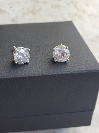 4.14 Carat F Color Round Diamond Earrings 100% Natural set in 14K White Gold Screwbacks Studs Gorgeous See Video Below!
