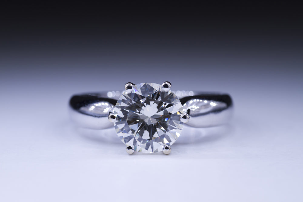 1.28 Carat H Color 100% Natural Round Diamond CT set in 14K WG 4 Prong Ring 6.65 mm