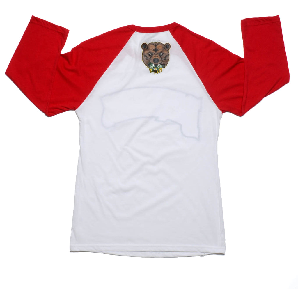 BAREWOODS RAGLAN TEE | WHITE & RED