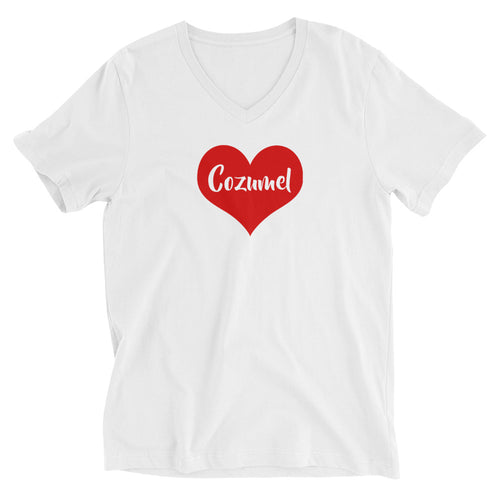 I heart Cozumel. Unisex Short Sleeve V-Neck T-Shirt