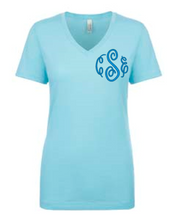 Sky Blue V-Neck Tee with Fancy Monogram