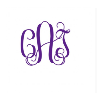 Vinyl Decal- 3 Inch Interlocking Monogram