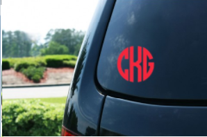 Vinyl Decal- 3 Inch Circle Monogram