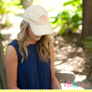 Khaki Cap with Fancy Monogram