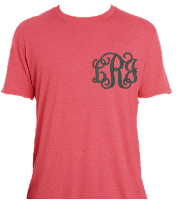 Coral T-Shirt with Fancy Monogram