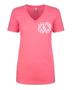 Pink V-Neck Tee with Fancy Monogram