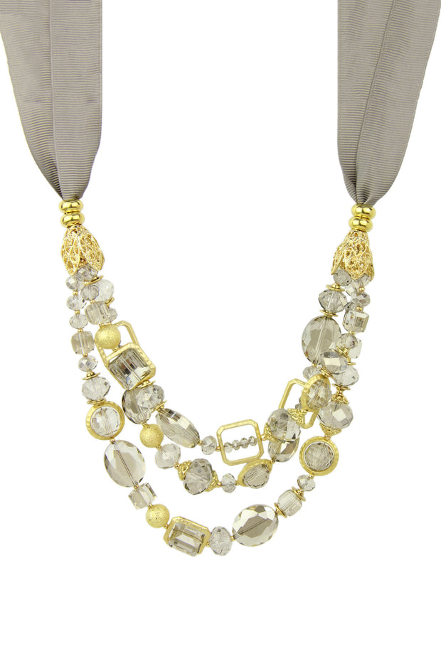 Triple Strand Beaded Tie Necklace