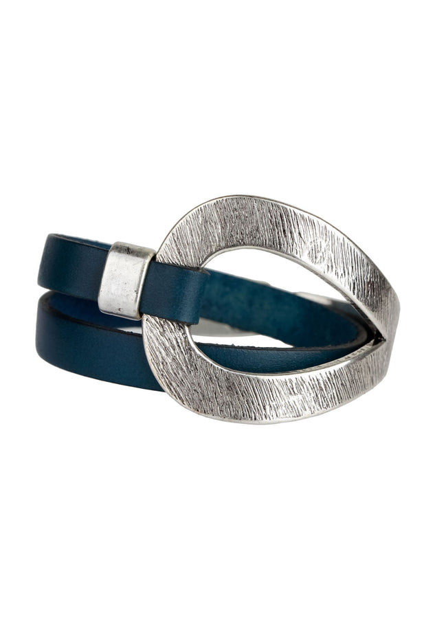Hammered Double Wrap Leather Loop Bracelet