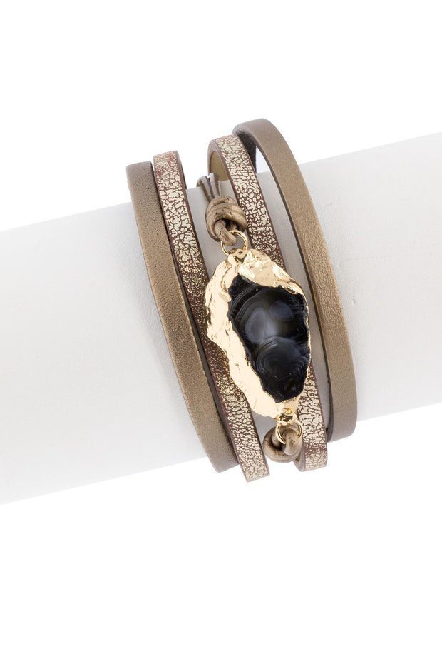 Morning Leather Stone Bracelet