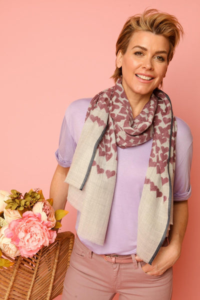 Heart Striped Purple Scarf