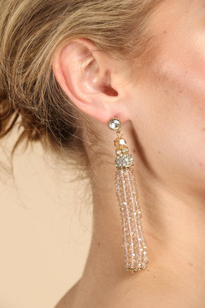 Bridal Crystal Beaded Tassel Earrings