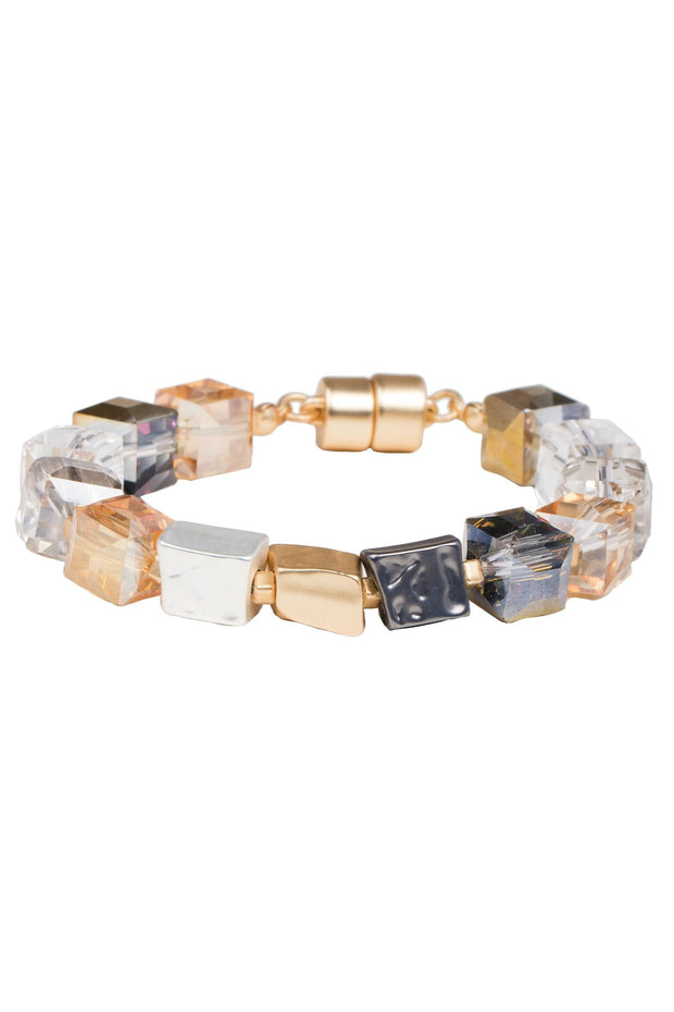Faceted Bead and Stone Bracelet