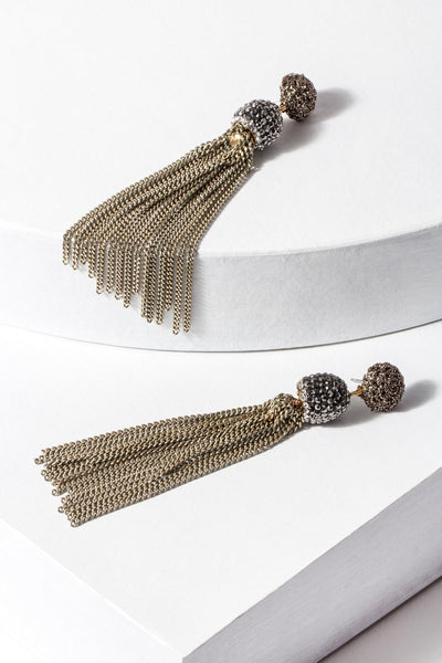 Glitzy Beaded Tassel Kamal Earrings