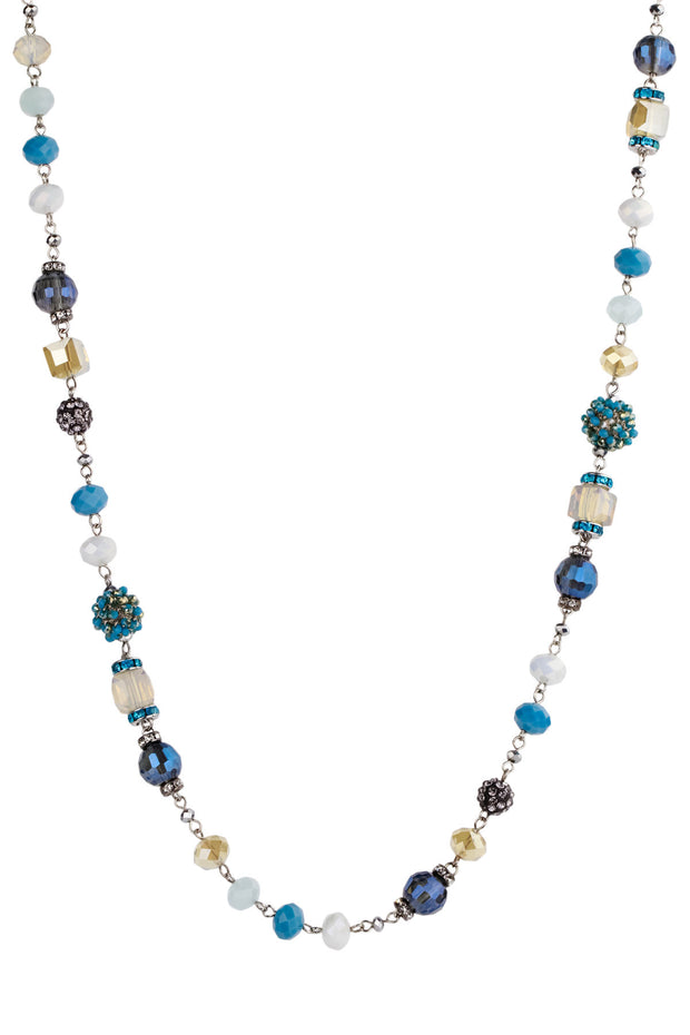 Multi Beaded Ribbon Necklace