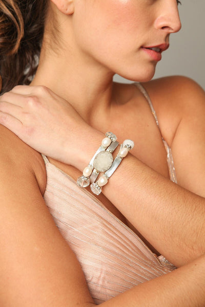 Pangea Leather Pearl Bracelet