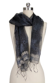 Sheer Metallic Silk Scarf