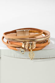 Autumn Chain Leather Wrap Bracelet