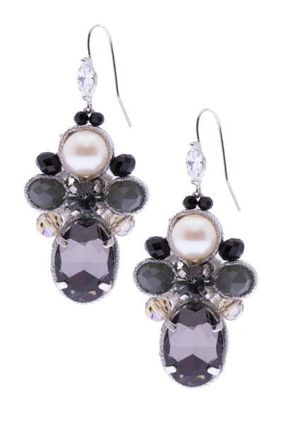 Dazzling Crystal Pearl Statement Earring