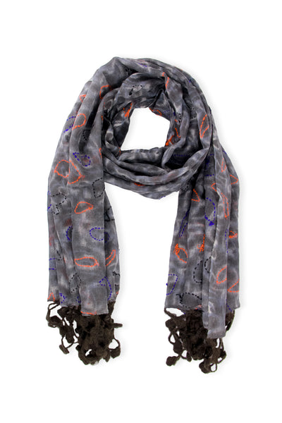 Mixed Print Knitted Fringe Scarf